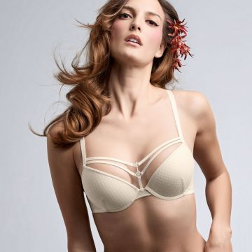 White key wired padded push up Bra