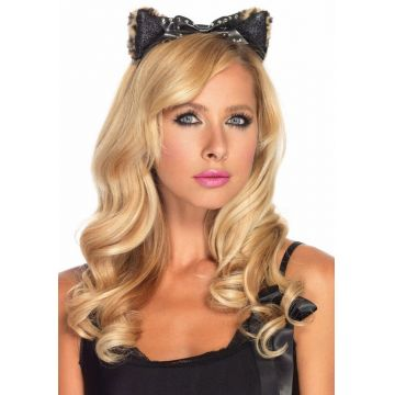 Plush Cheetah Ear Headband With Studded Bow