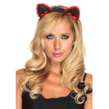 Lace Ruffle Kitty Ear Headband With Mini Bow Accents